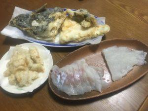 左アイナメ右カレイ(刺身)、カレイ、アイナメの天ぷら